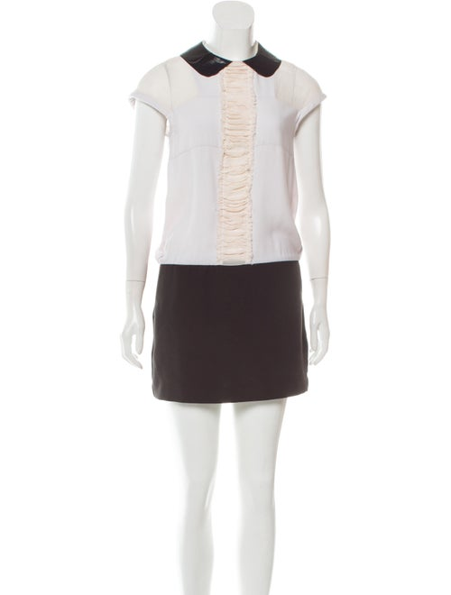 Maje Peter Pan Collar Mini Dress White