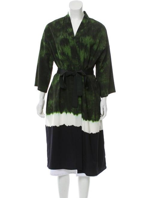 Maje Tie-Dye Print Plunge Neckline Sweater Green
