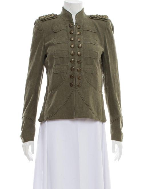 Maje Linen Utility Jacket Green