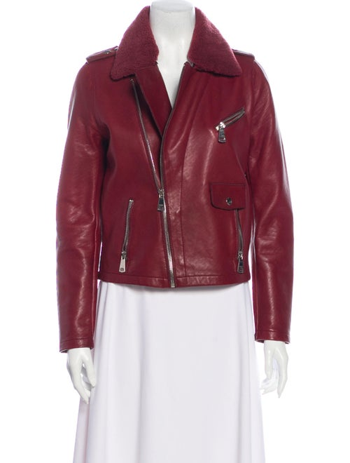 Maje Leather Biker Jacket Red