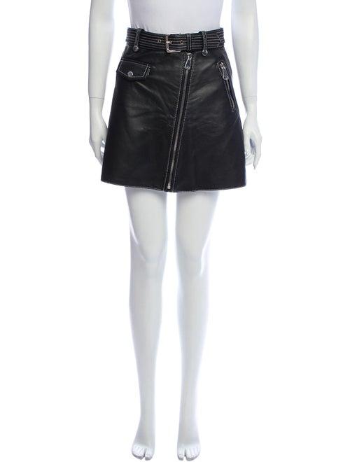 Maje Leather Mini Skirt Black