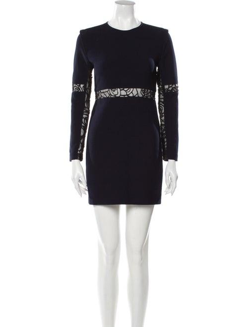 Maje Lace Pattern Mini Dress Blue - image 1