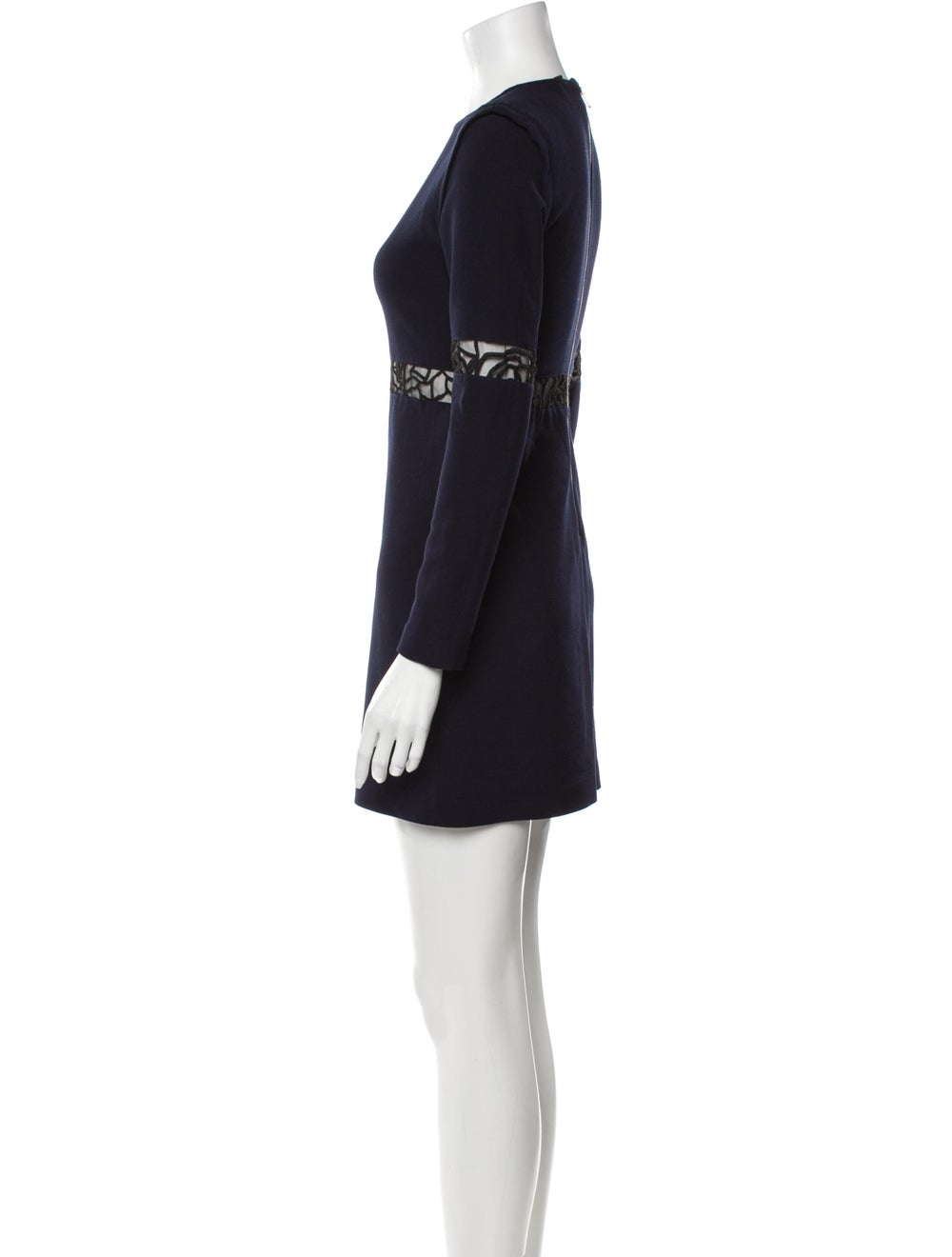 Maje Lace Pattern Mini Dress Blue - image 2