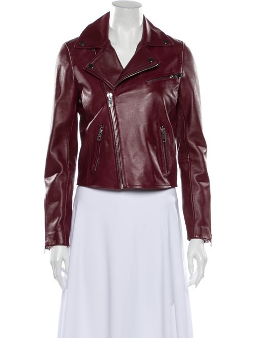Maje Lamb Leather Biker Jacket Red