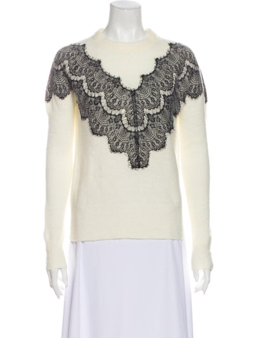 Maje Lace Pattern Crew Neck Sweater White