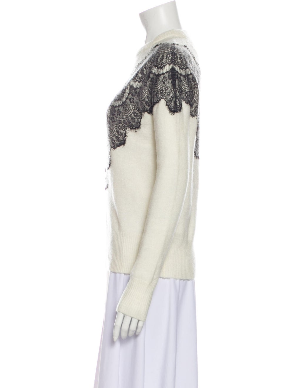 Maje Lace Pattern Crew Neck Sweater White - image 2