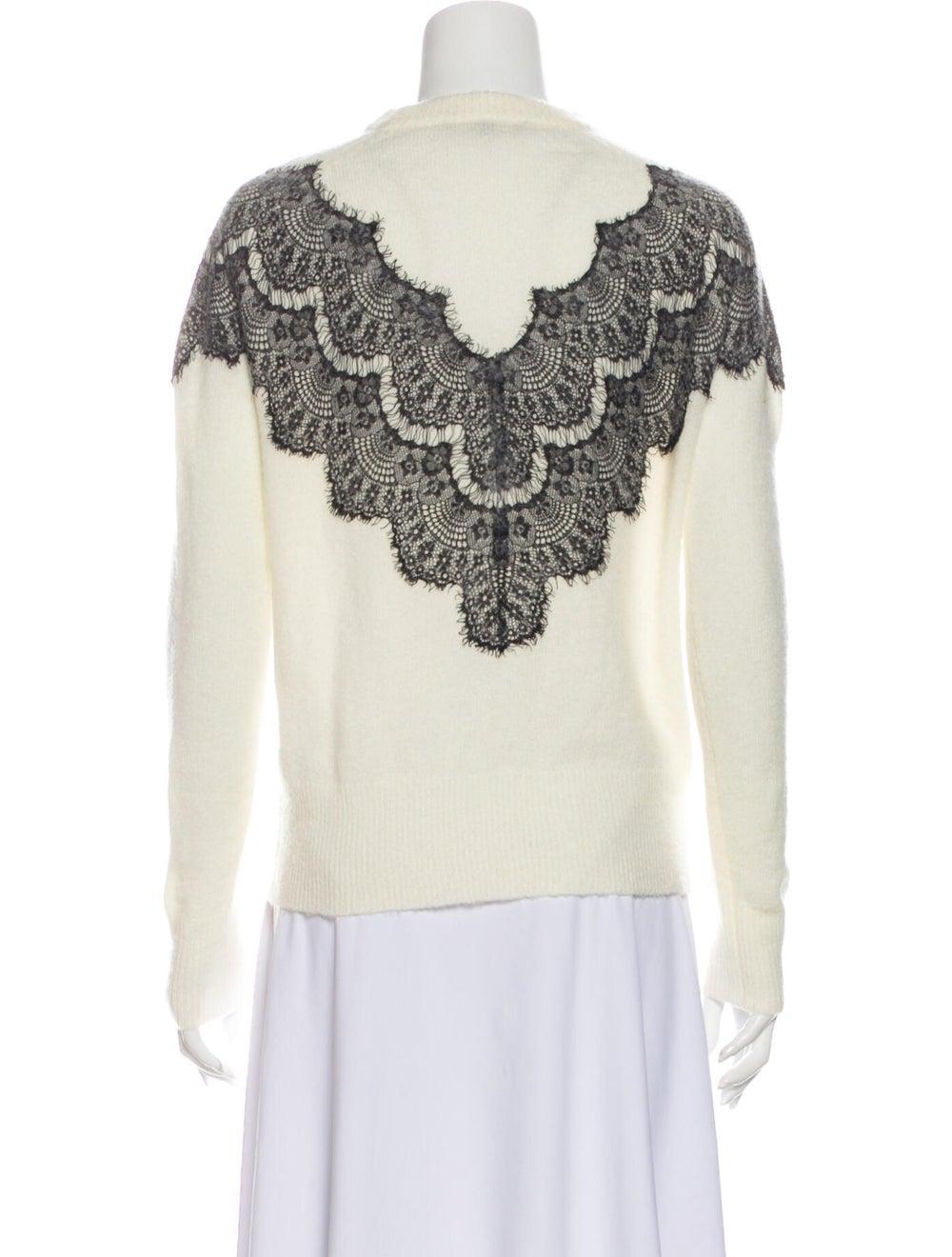 Maje Lace Pattern Crew Neck Sweater White - image 3