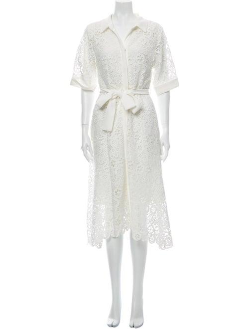 Maje Lace Pattern Long Dress White