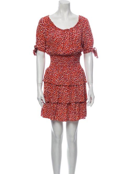 Maje Floral Print Mini Dress Orange