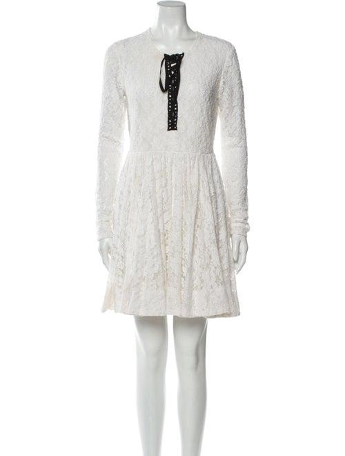 Maje Lace Pattern Mini Dress White