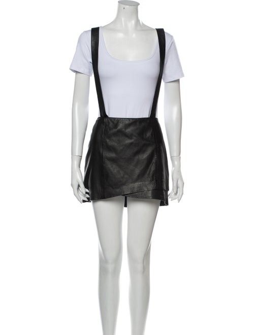 Maje Lamb Leather Mini Skirt Black