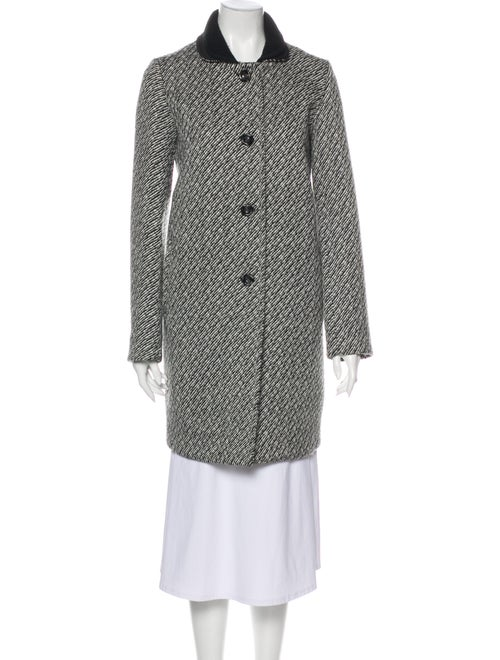 Maje Tweed Pattern Coat Black
