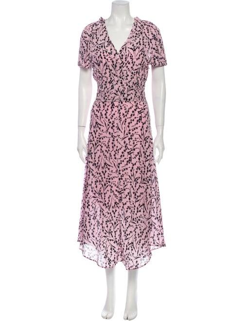 Maje Silk Long Dress Pink