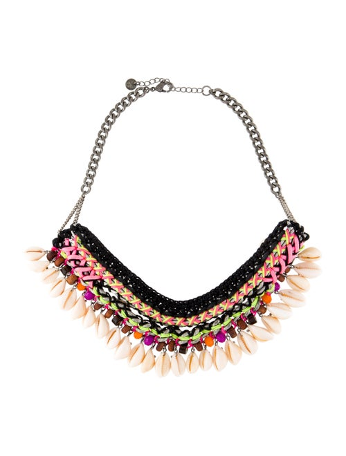 Maje Puka Shell & Cord Choker Necklace Silver