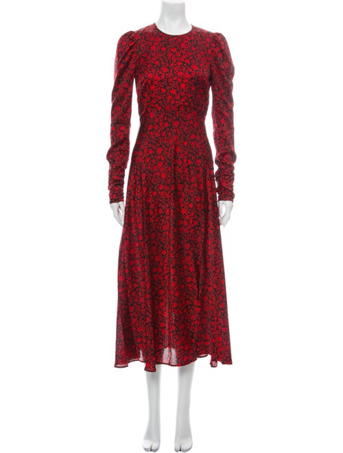 Maje Floral Print Long Dress Red