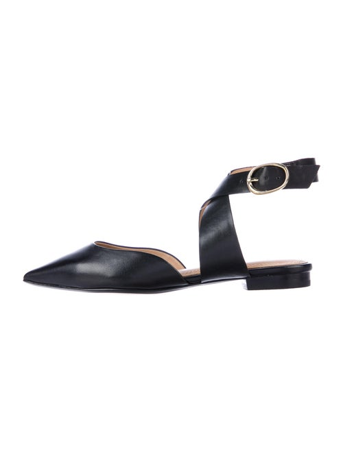 Maje Leather Slingback Flats Black