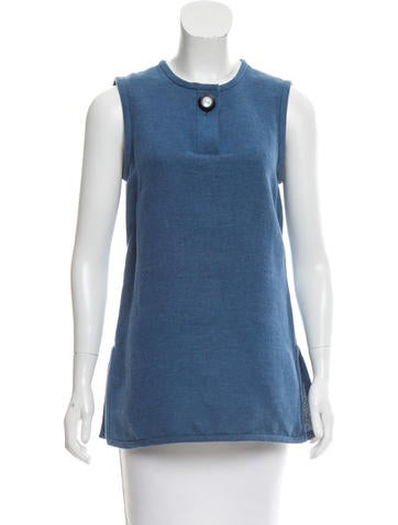 Trademark Linen-Blend Sleeveless Top None
