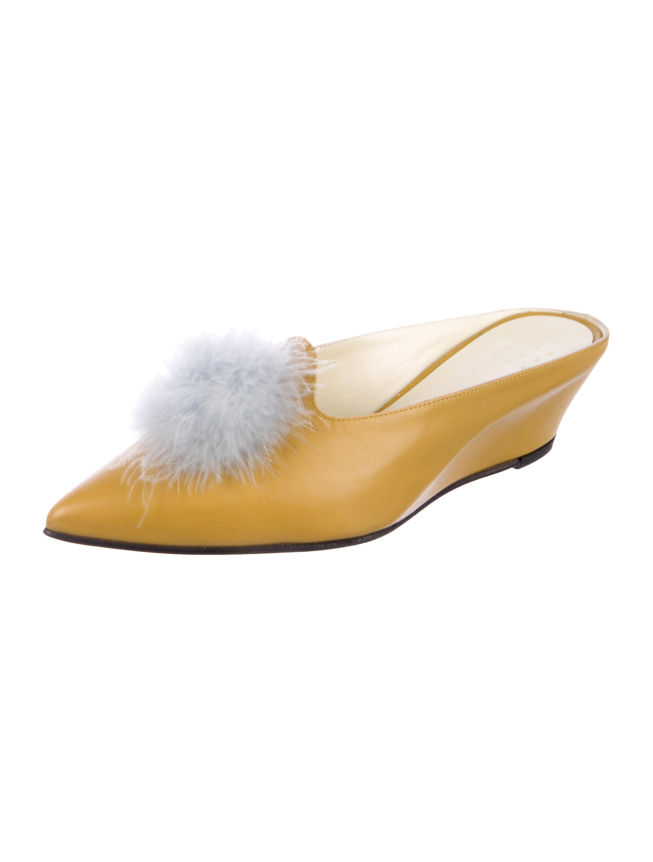 fashion Style online cheap sale best store to get Trademark Feather Pom-Pom Mules quality from china wholesale cheap sale free shipping prices cheap online QuHPlqSI