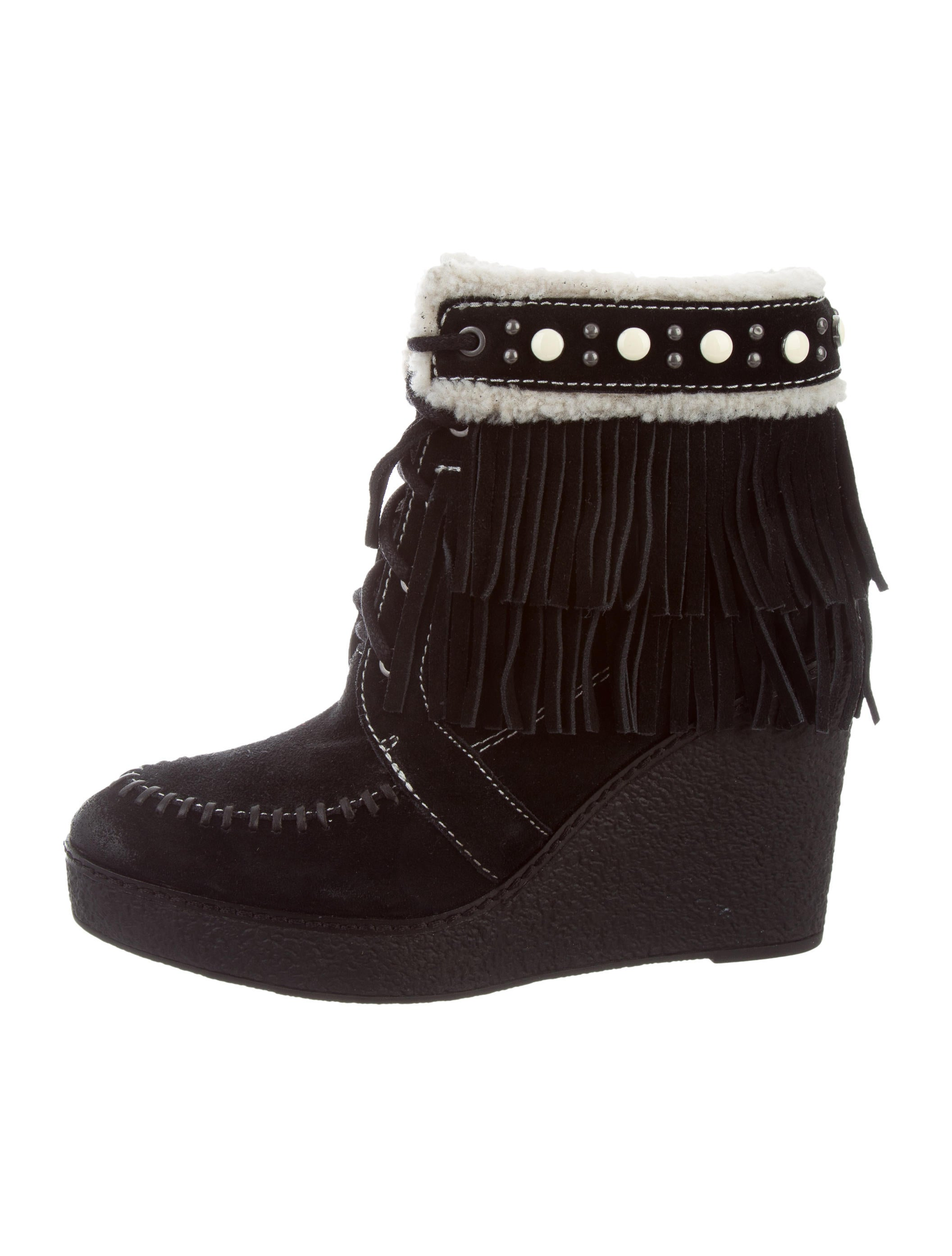 0353c1aa4 Sam Edelman Fringe-Trimmed Wedge Ankle Boots - Shoes - W2W20198 ...
