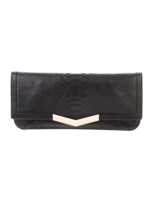 Time's Arrow Embossed Leather Clutch Black
