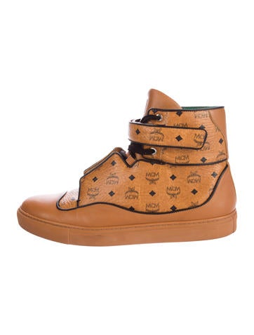 MCM Visetos Leather-Trimmed Sneakers None