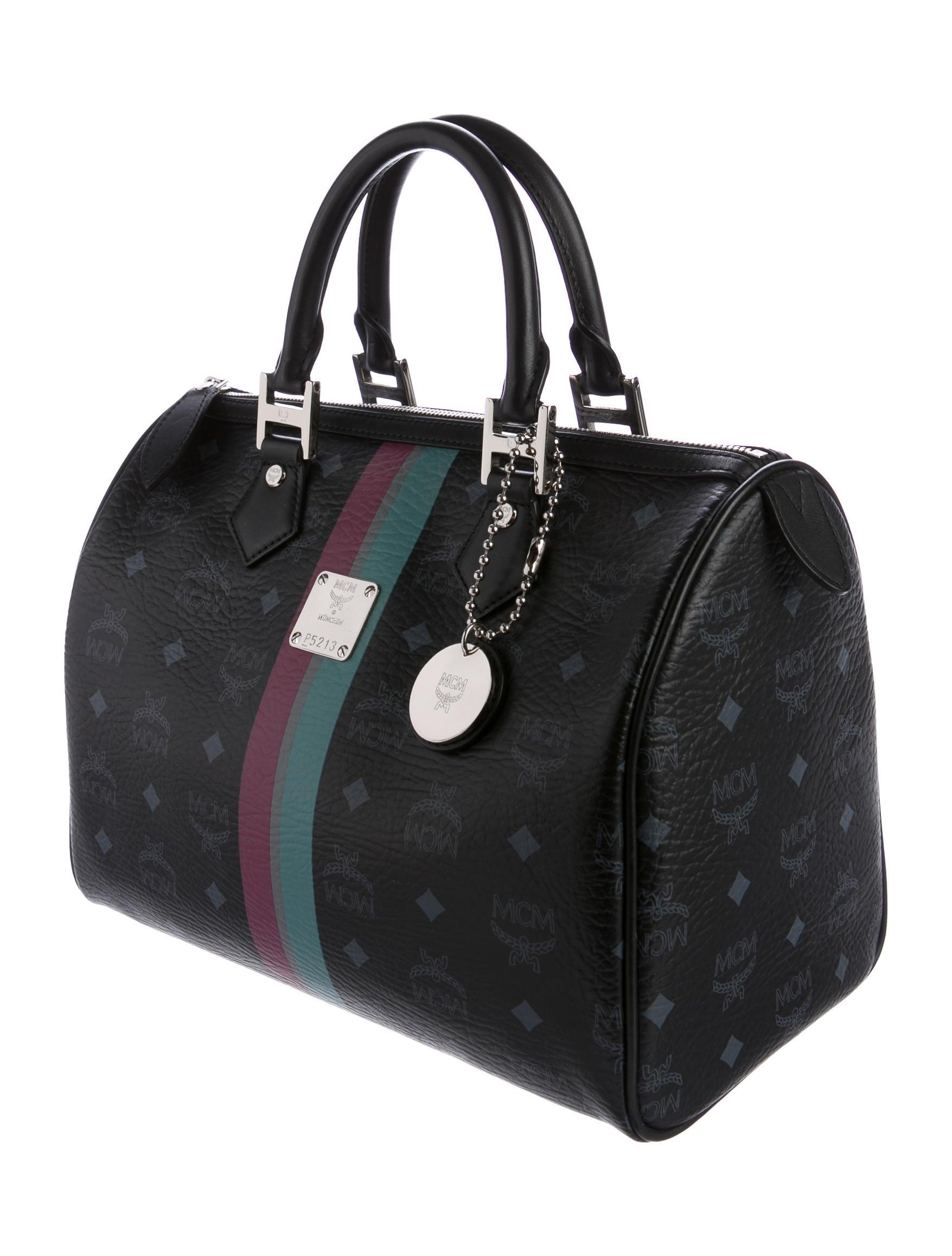Boston Bag Patchwork Tutorial: MCM Visetos Boston Bag - Handbags - W3021596