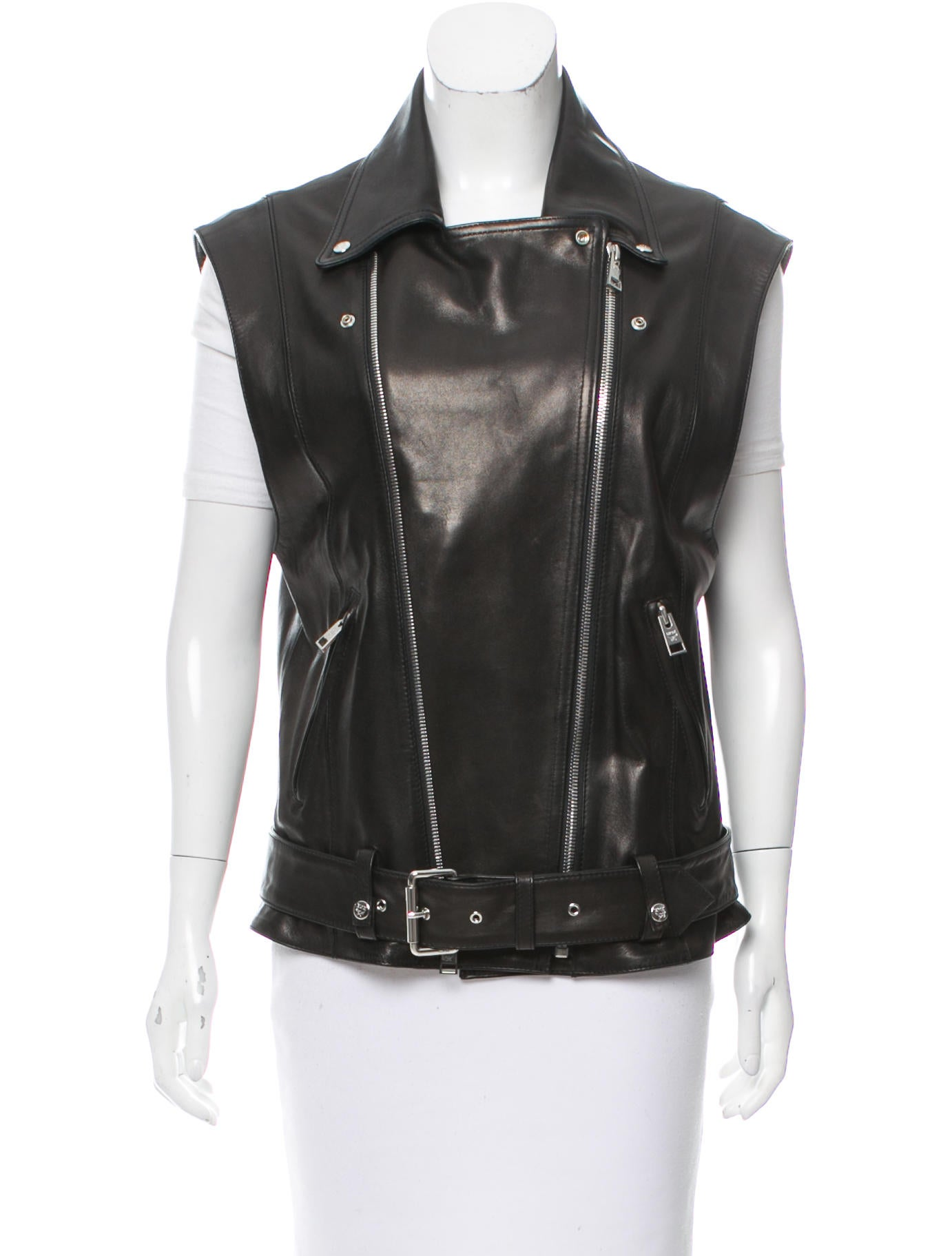 mcm leather moto vest clothing w3021761 the realreal