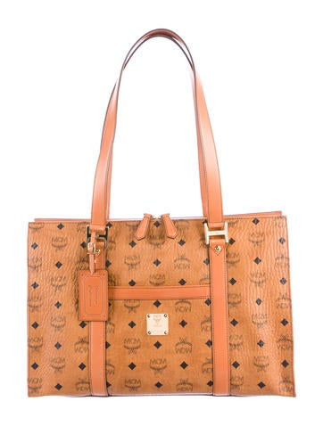 MCM Leather-Trimmed Visetos Tote None