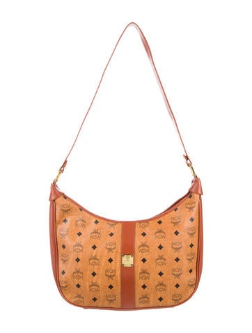 MCM Leather-Trimmed Visetos Hobo None