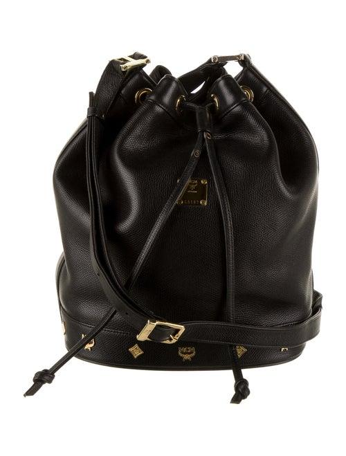 MCM Vintage Visetos Bucket Bag Black