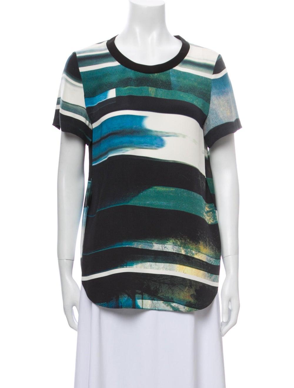 3.1 Phillip Lim Silk Striped T-Shirt Green - image 1