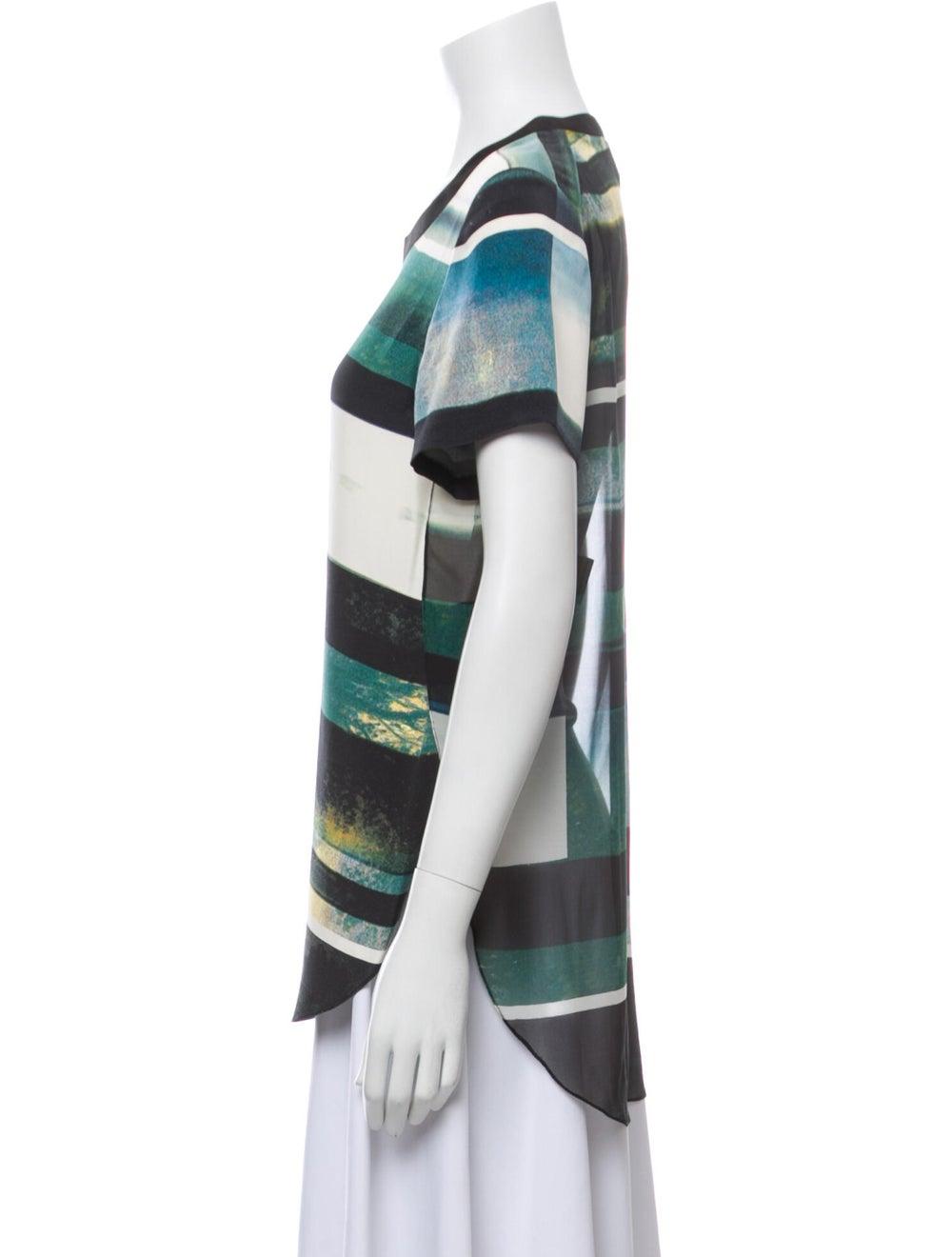3.1 Phillip Lim Silk Striped T-Shirt Green - image 2