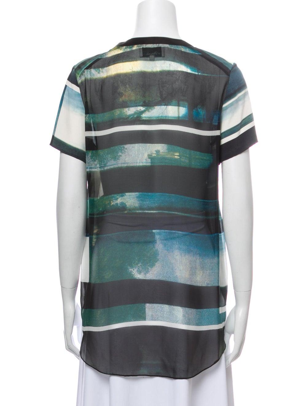 3.1 Phillip Lim Silk Striped T-Shirt Green - image 3