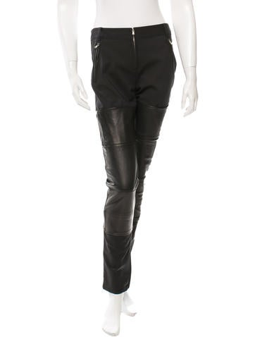 3.1 Phillip Lim Leather-Trimmed Straight-Leg Pants w/ Tags