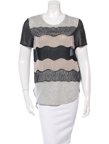 3.1 Phillip Lim Lace-Accented Short Sleeve Top