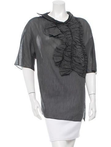 3.1 Phillip Lim Ruffled-Accented Striped Top w/ Tags None