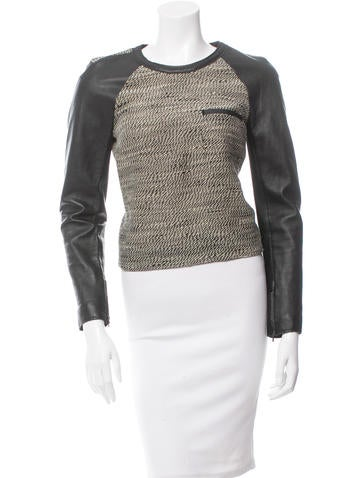 3.1 Phillip Lim Wool Leather-Trimmed Top None