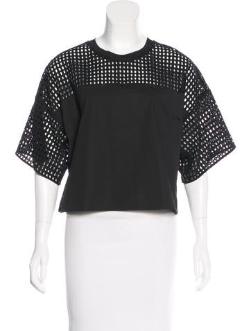 3.1 Phillip Lim Eyelet-Accented Short Sleeve Top None