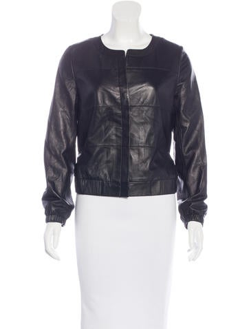 3.1 Phillip Lim Leather Collarless Jacket None