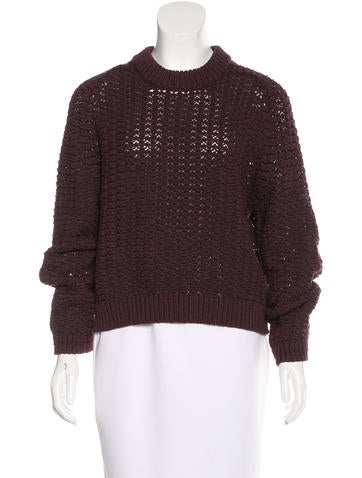 3.1 Phillip Lim Open Knit Crew Neck Sweater None