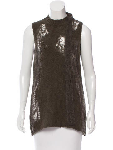 3.1 Phillip Lim Distressed Wool Top None