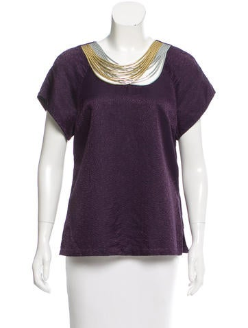 3.1 Phillip Lim Chain-Embellished Wool & Silk-Blend Top None