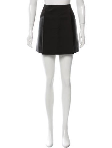 3.1 Phillip Lim Leather-Trimmed Mini Skirt None