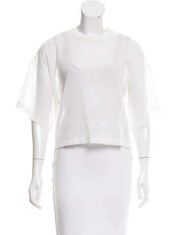 3.1 Phillip Lim Sheer Short Sleeve Top None