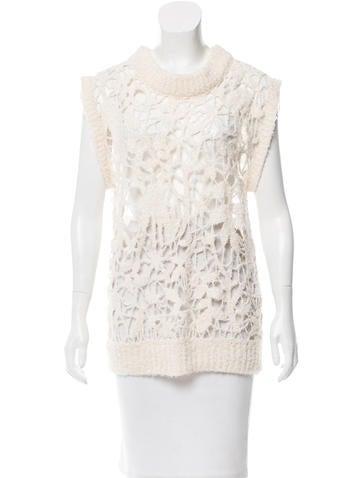 3.1 Phillip Lim Sleeveless Open Knit Sweater None