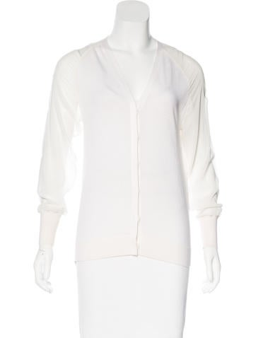 3.1 Phillip Lim Sheer Sleeve Knit Cardigan None