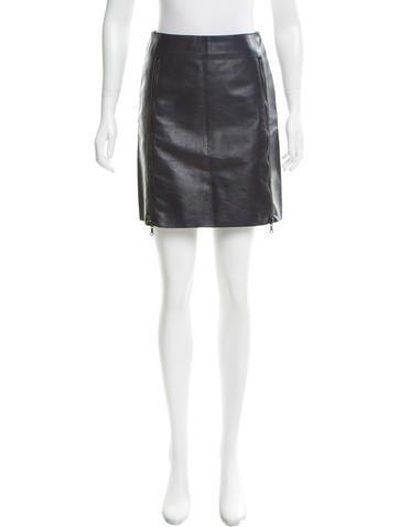 3.1 Phillip Lim Leather Mini Skirt None