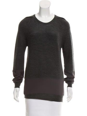 3.1 Phillip Lim Chiffon-Paneled Wool Sweater None