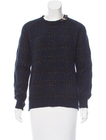 3.1 Phillip Lim Leather-Trimmed Wool Sweater None