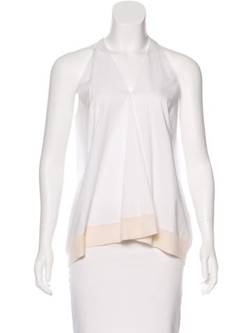 3.1 Phillip Lim Sleeveless Rib Knit-Trimmed Top None
